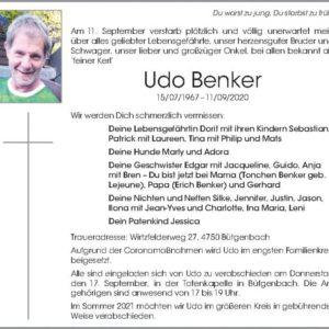 Todesanzeige Udo Benker